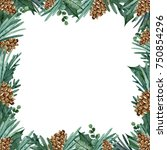 christmas frame with  leaves ... | Shutterstock . vector #750854296
