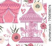 seamless pattern with carousel  ... | Shutterstock .eps vector #750858076