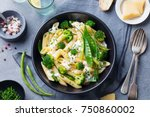 pasta with green vegetables and ... | Shutterstock . vector #750860002