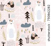 seamless pattern with bear ... | Shutterstock .eps vector #750862282