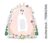 cute cartoon bear in floral... | Shutterstock .eps vector #750862366