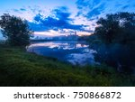 blue sunset over summer river... | Shutterstock . vector #750866872