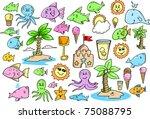cute summer ocean create doodle ... | Shutterstock .eps vector #75088795