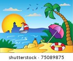 beach with umbrella and sand... | Shutterstock .eps vector #75089875