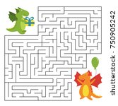 birthday maze game with funny...   Shutterstock .eps vector #750905242