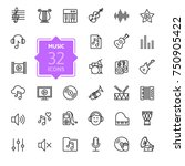music web icon set   outline... | Shutterstock .eps vector #750905422