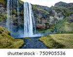 seljalandsfoss waterfall in... | Shutterstock . vector #750905536