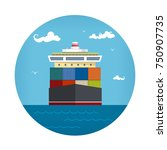 front view of the cargo... | Shutterstock .eps vector #750907735