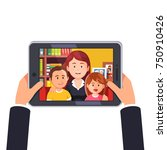 online video call with mother... | Shutterstock .eps vector #750910426