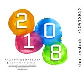 abstract 2018 new year with... | Shutterstock .eps vector #750913852