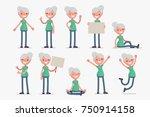 elderly character set  vector... | Shutterstock .eps vector #750914158
