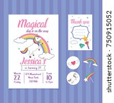 unicorn birthday invitation... | Shutterstock .eps vector #750915052
