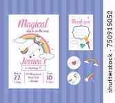 unicorn birthday invitation... | Shutterstock .eps vector #750915052