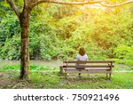 Woman Sitting On The Bench...