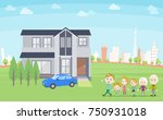 family 3 generations house... | Shutterstock .eps vector #750931018