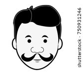 hipster face cartoon icon... | Shutterstock .eps vector #750931246