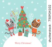 christmas card with cats.... | Shutterstock .eps vector #750934102