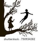boy and girl on the big tree  ... | Shutterstock .eps vector #750934282