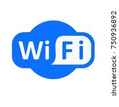 blue wifi vector icon.... | Shutterstock .eps vector #750936892