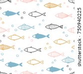 seamless vector hand drawn fish ... | Shutterstock .eps vector #750940225