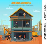house construction  scene with... | Shutterstock .eps vector #750946228