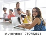 a child with technology tablet... | Shutterstock . vector #750952816
