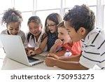 a group of curious children... | Shutterstock . vector #750953275
