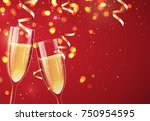 two glasses of champagne on... | Shutterstock .eps vector #750954595