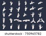 hand gestures with grunge dots... | Shutterstock .eps vector #750965782