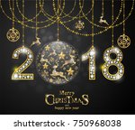 christmas greeting and new... | Shutterstock .eps vector #750968038