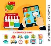 e commerce set of flat icons... | Shutterstock .eps vector #750969496