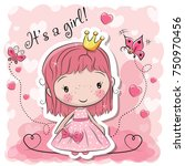 greeting card with cute cartoon ... | Shutterstock .eps vector #750970456