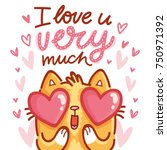 cute cat character in love with ... | Shutterstock .eps vector #750971392