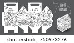 hand drawn new year gift box... | Shutterstock .eps vector #750973276