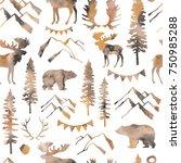 forest seamless pattern. wild...   Shutterstock . vector #750985288