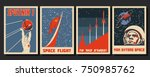 vector space posters. stylized... | Shutterstock .eps vector #750985762