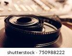 vintage cine reel in a close up ... | Shutterstock . vector #750988222