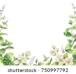 watercolor frame of flowers... | Shutterstock . vector #750997792