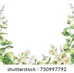 watercolor frame of flowers... | Shutterstock . vector #750997792