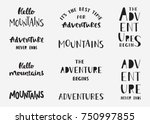 set of mountains and adventure... | Shutterstock .eps vector #750997855