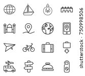 thin line icon set   globe ... | Shutterstock .eps vector #750998506