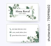 floral business card design.... | Shutterstock .eps vector #750998602