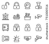 thin line icon set   unlock ... | Shutterstock .eps vector #751000516