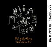 hand drawn doodle video 3d... | Shutterstock .eps vector #751007908