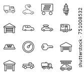 thin line icon set   truck ... | Shutterstock .eps vector #751008532