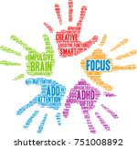 focus adhd word cloud on a... | Shutterstock .eps vector #751008892