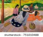 The Siesta, by Paul Gauguin, 1892-94, French Post-Impressionist painting, oil on canvas. Tahitian women gathered in an open-sided shelter with wood plank floor