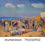 crowd at the seashore  by... | Shutterstock . vector #751010932