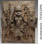 plaque warrior and attendants ... | Shutterstock . vector #751012396
