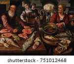 FISHMARKET, by Joachim Beuckelaer, 1568, Netherlandish, Northern Renaissance oil painting. This daily fish market represents the new genre of still-life painting, celebrating abundance and commerce in